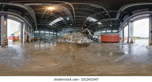 360 panorama angle view in modern waste hazardous recycling plant and storage. Full 360 by 180 degree panorama in equirectangular spherical projection, skybox VR content. Separate garbage collection.