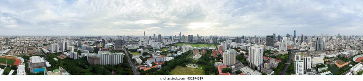 360 Panorama of Bangkok Cityscape at Sunrise, with Bird Eye View of Chulalongkorn University, Bangkok, Thailand.