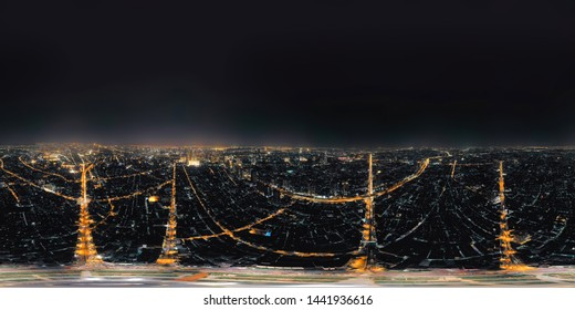 360 panorama by 180 degrees angle seamless panorama view of Wongwian Yai roundabout. Aerial view of highway junctions. Top view. Urban city, Bangkok at night, Thailand.