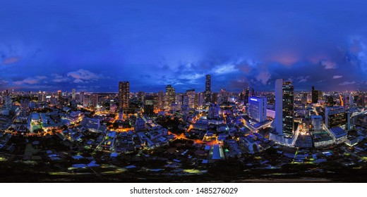 360 panorama by 180 degrees angle seamless panorama view of aerial view of Bangkok Downtown Skyline. Thailand. Financial district and business centers in urban city. Skyscraper buildings at night.