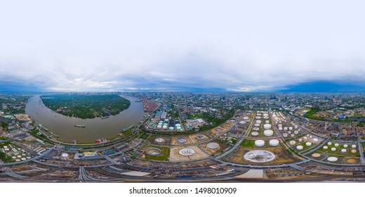 360 panorama by 180 degrees angle seamless panorama of aerial view of petrochemical oil refinery in industrial engineering concept, Bangkok City, Thailand. Oil and gas pipelines. Factory.