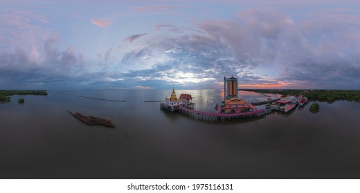 360 panorama by 180 degrees angle seamless panorama of aerial view of Wat Hong Thong with lake or sea, Chachoengsao near Bangkok City, Thailand. Thai buddhist temple architecture. Tourist attraction.