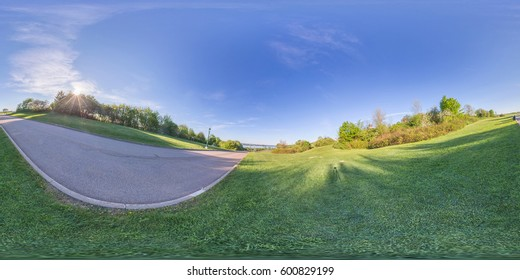 360 panorama of historic Battlefield park in Quebec city that now serves as a multi purpose healthy living green space for bicycling, walking, picnics and more