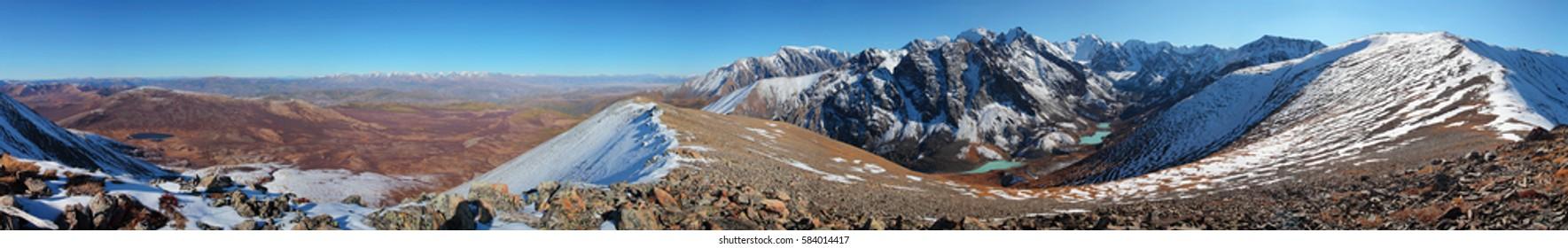 360 Panorama, view of Altai mountains, North Chuisky Ridge