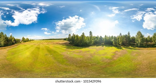 360 panorama view of golf course, full 360 by 180 degrees seamless panorama in equirectangular spherical equidistant projection, skybox VR AR content
