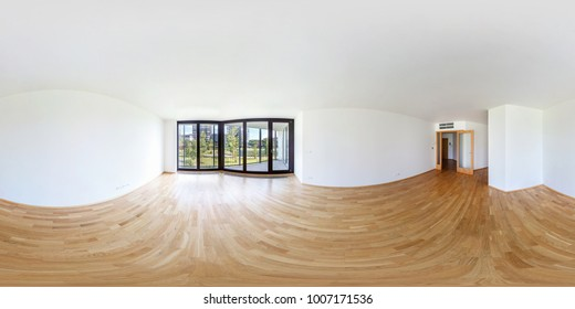 360 panorama view in modern white empty loft room overlooking the metropolis, full 360 by 180 degrees panorama in equirectangular spherical projection, skybox for VR AR content