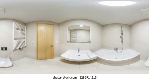 360 panorama view in modern white empty restroom bathroom with shower cabin, full 360 by 180 degrees panorama in equirectangular spherical projection, skybox VR content