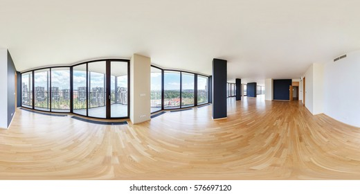 360 panorama view in modern white empty loft apartment interior of living room hall, full 360 by 180 degrees seamless panorama in equirectangular spherical equidistant projection.skybox VR AR content