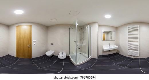 360 panorama view in modern white empty restroom bathroom lavatory toilet with shower cabin, full 360 by 180 degrees panorama in equirectangular spherical projection, skybox VR content