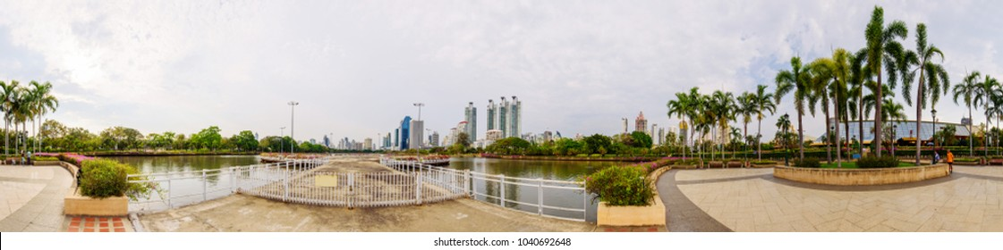 360 panorama view of public park / circle panorama of public park