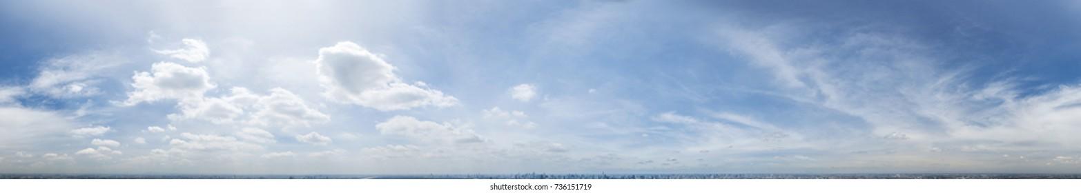 360 Seamless cloudy blue sky panorama at noon, image in spherical(equirectangular) format, BANGKOK, THAILAND.