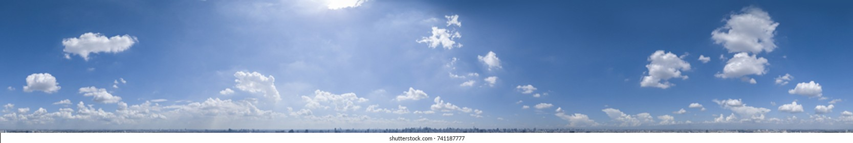 360 seamless cloudy blue sky panorama at sunny afternoon in Spherical (Equirectangular) format, THAILAND