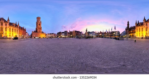 360 spherical panorama of Brugge Grote Markt square with famous tourist attraction Belfry and statue of Jan Breydel and Pieter de Coninck and Provincial Court illuminated at night. Bruges, Belgium