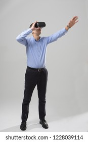 360. Virtual game. Man uses a virtual reality glasses.  VR