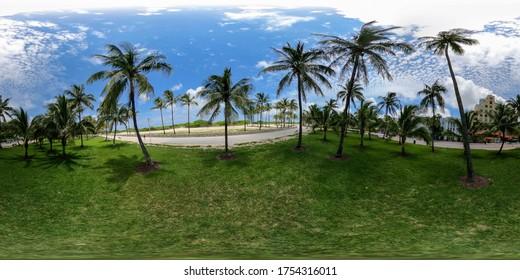 360 vr Miami Beach Lummus Park palm trees equirectangular photo