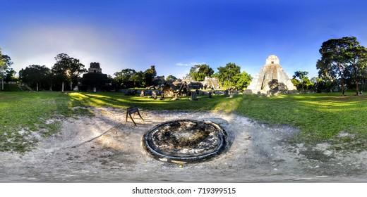 360 VR Tikal. Mayan pyramid ruins in Guatemala