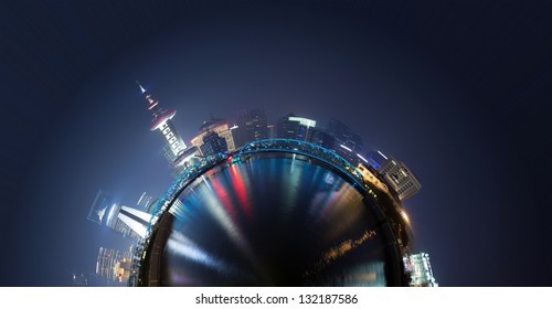 360-degree panorama of the round of the Shanghai skyline