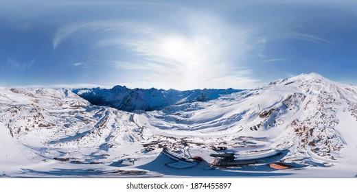 360-degree panoramic aerial view of Mount Elbrus MIR station in winter season - Shutterstock ID 1874455897