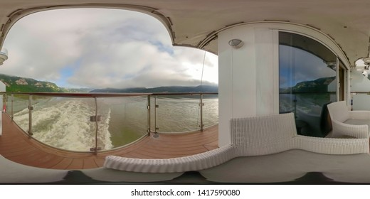360VR cruising on riverboat through the Iron Gate gorges on the Danube River between Serbia and Romania countryside.