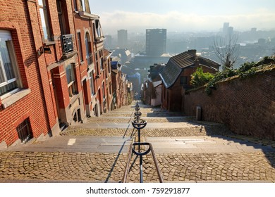 374-step long staircase Montagne de Bueren, a popular landmark and tourist attraction in Liege, Belgium, on a beautiful winter day