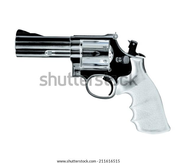 .38 Caliber Revolver Pistol Loaded Cylinder Gun Barrel Close Up Pointed on White