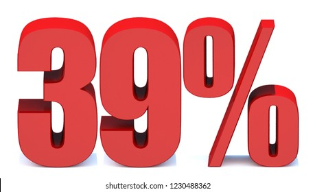 ddd14e6883336f 39 Percent off 3d Sign on White Background