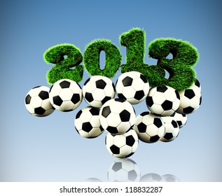 3D 2013 year render grass textured Title & footballs with sky background new sport year Football, Soccer season