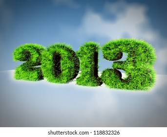 3D 2013 year render grass textured Title with sky background new sport year