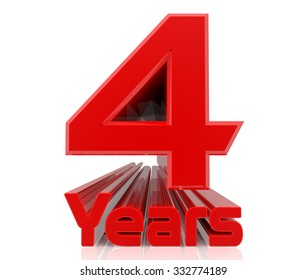 3D 4 years word on white background 3d rendering