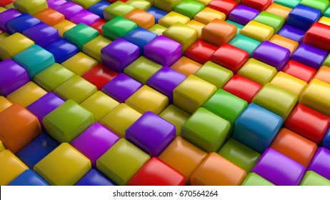3D abstract background  made of cubic fragments