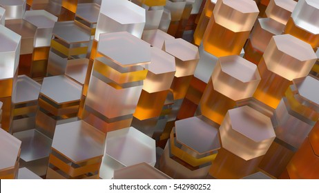 3d abstract background made of randomly extruded geometry. Primitive forms that sliced across.