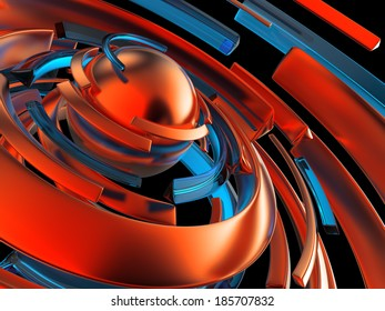 3d abstract background with perspective, red clusters and blue lines, red sphere