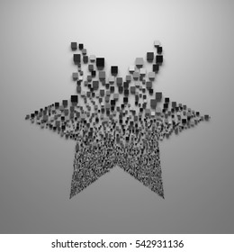 3d abstract background with randomly generated geometry. 3D rendered clonning distribution of geometry primitives.