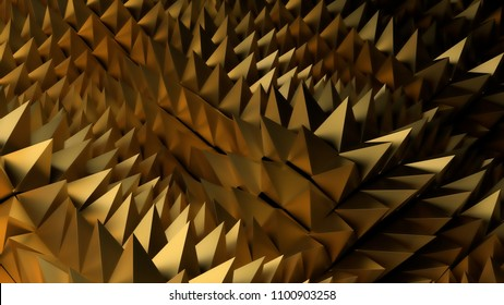 3d abstract background with sharp spike shapes on the displacement wavy surface.