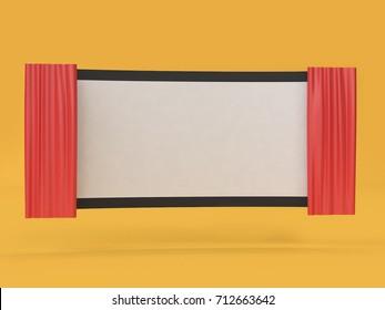 3d abstract blank movie-cinema screen movie,cinema,entertainment concept
