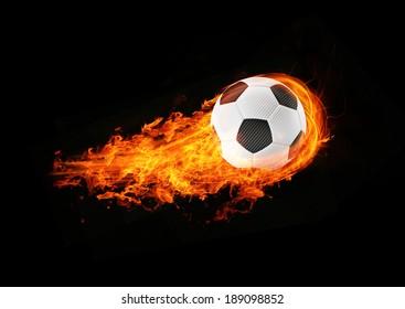 3d abstract burning soccer football background illustration
