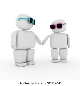 3d abstract couple holding hands
