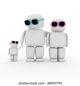 3d abstract family with daughter
