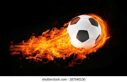 3d abstract flamed football soccer fireball black background