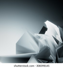 3d Abstract futuristic crystal geometric shape background for card design, page design, leaflet, brochure, flyer or magazine page design.