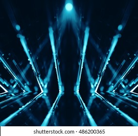 3D abstract lights lens flare background - 3D illustration