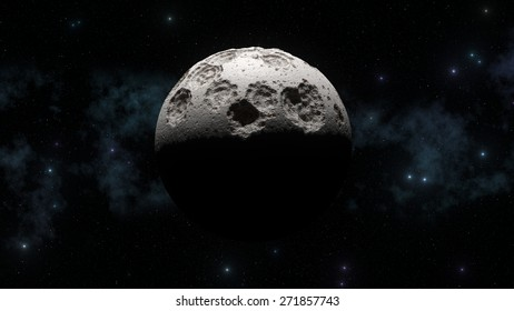 3d abstract moon with galaxy in background and sharp sun light shadows. Lunar craters and bumps.