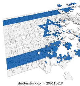 3d abstract randomly scattered puzzle flag of the Israel