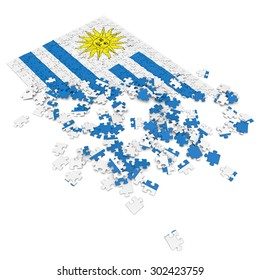 3d abstract randomly scattered puzzle flag of the Uruguay