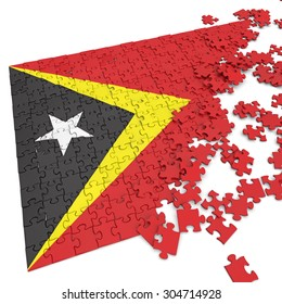 3d abstract randomly scattered puzzle flag of the East Timor