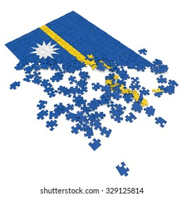 3d abstract randomly scattered puzzle flag of the Nauru