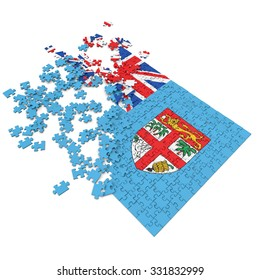 3d abstract randomly scattered puzzle flag of the Fiji