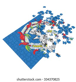 3d abstract randomly scattered puzzle flag of the Northern Marianas