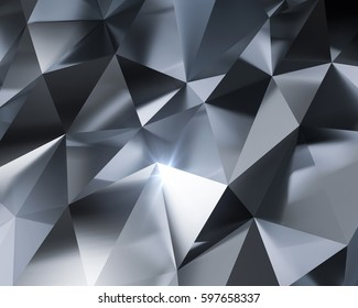 3D Abstract silver or metal triangle polygonal pattern background