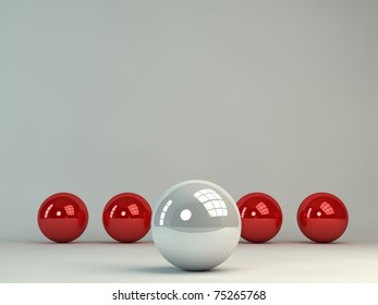 3d abstract sphere background with a white sphere on front